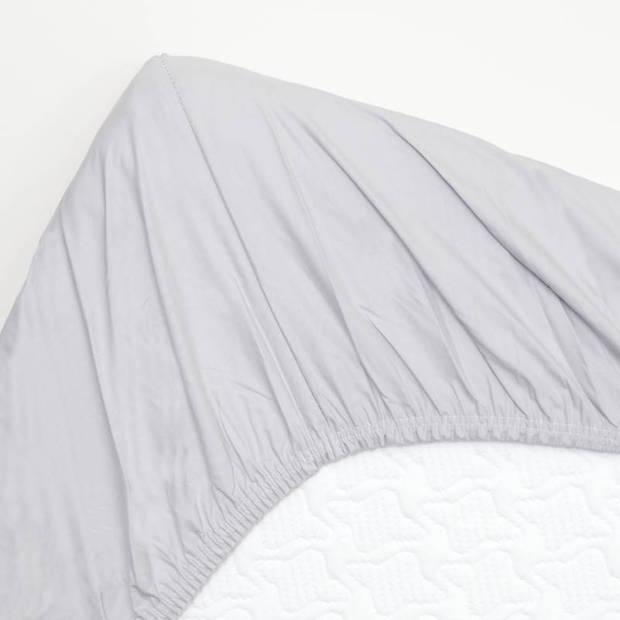 Snoozing - Topper - Hoeslaken - 80x220 cm - Percale katoen - Grijs