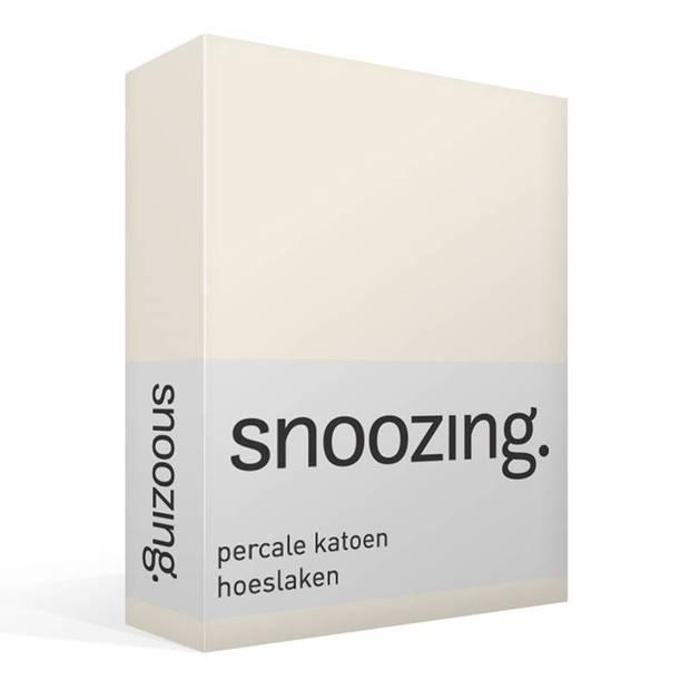 Snoozing - Hoeslaken -90x220 - Percale katoen - Ivoor