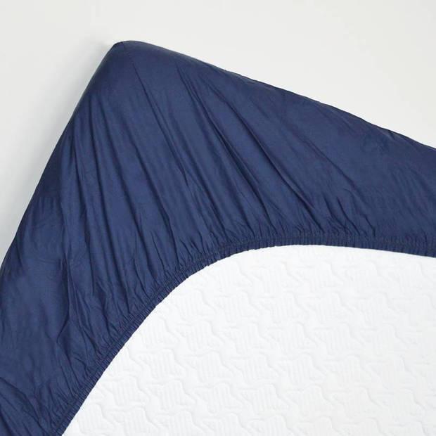 Snoozing - Hoeslaken -120x220 - Percale katoen - Navy