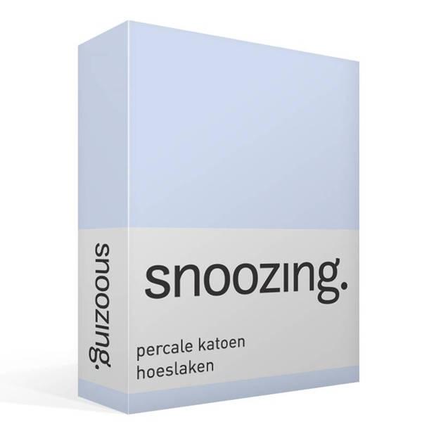 Snoozing - Hoeslaken -100x220 - Percale katoen - Hemel