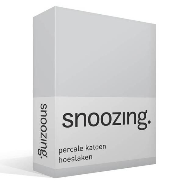 Snoozing - Hoeslaken -90x200 - Percale katoen - Grijs