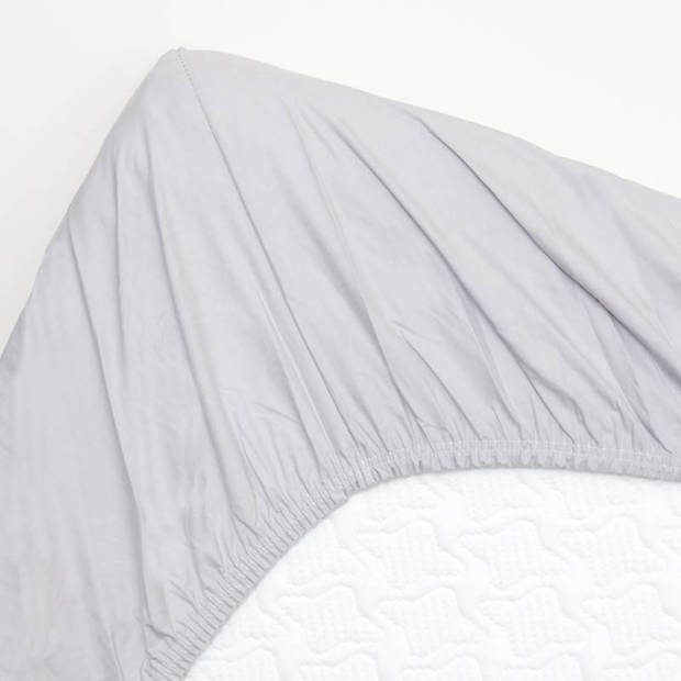 Snoozing - Hoeslaken -80x220 - Percale katoen - Grijs