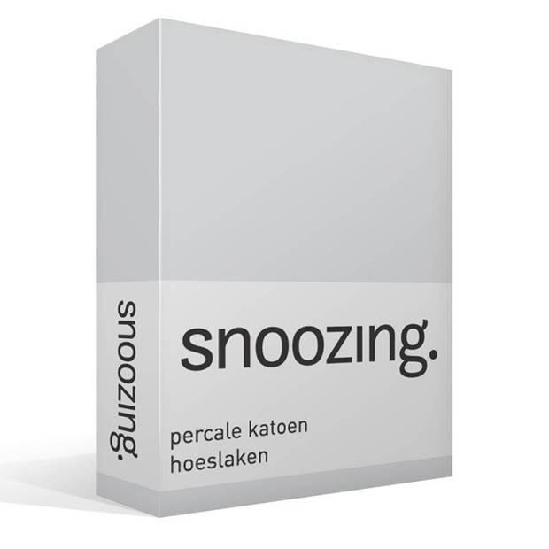 Snoozing - Hoeslaken -90x220 - Percale katoen - Grijs