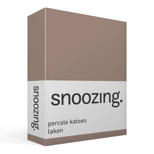 Snoozing - Laken - Tweepersoons - Percale katoen - 200x260 - Taupe