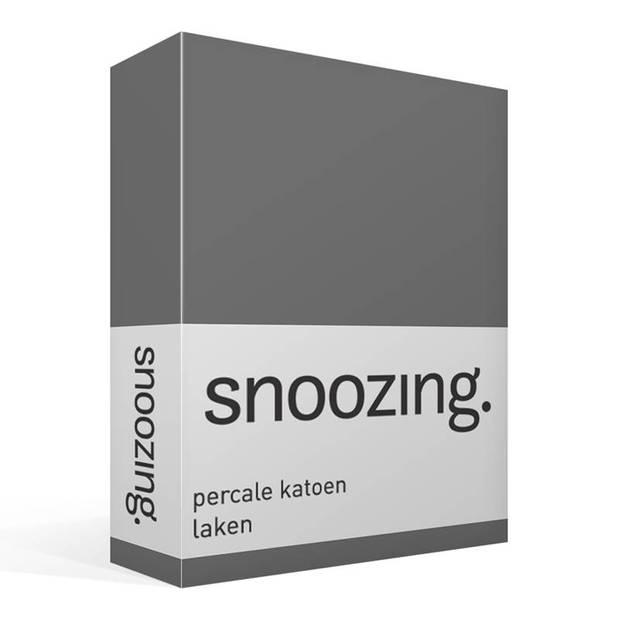 Snoozing - Laken - Eenpersoons - Percale katoen - 150x260 - Antraciet