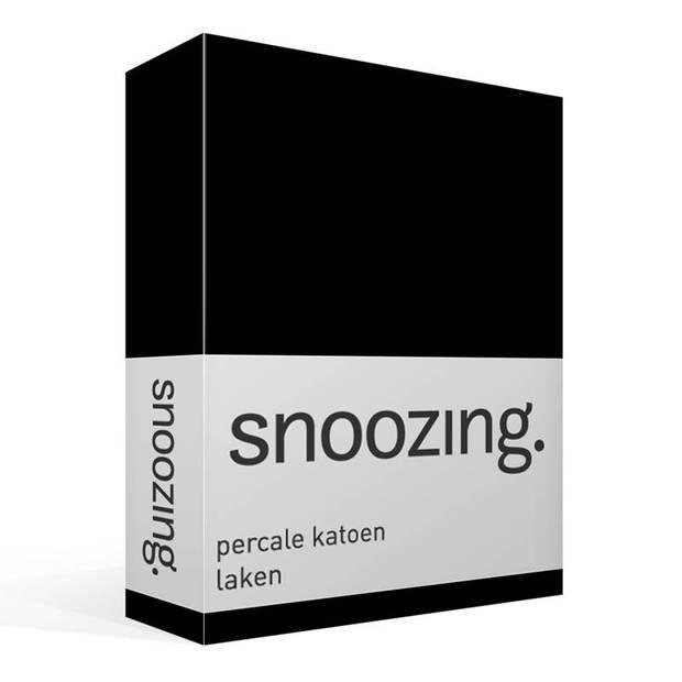 Snoozing - Laken - Eenpersoons - Percale katoen - 150x260 - Zwart