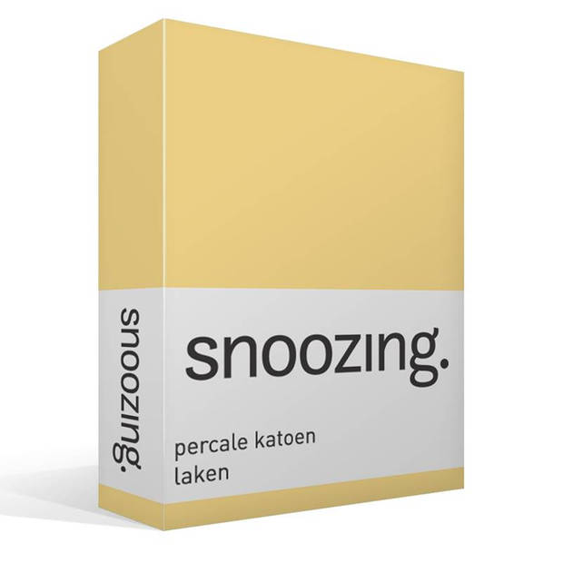 Snoozing - Laken - Lits-jumeaux - Percale katoen - 280x300 - Geel