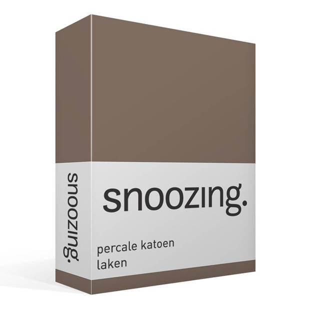 Snoozing - Laken - Lits-jumeaux - Percale katoen - 280x300 - Bruin