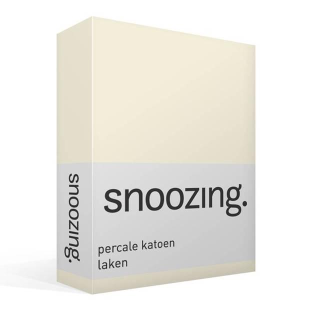 Snoozing - Laken - Eenpersoons - Percale katoen - 150x260 - Ivoor