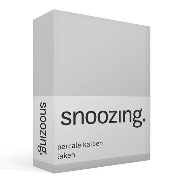 Snoozing - Laken - Lits-jumeaux - Percale katoen - 280x300 - Grijs
