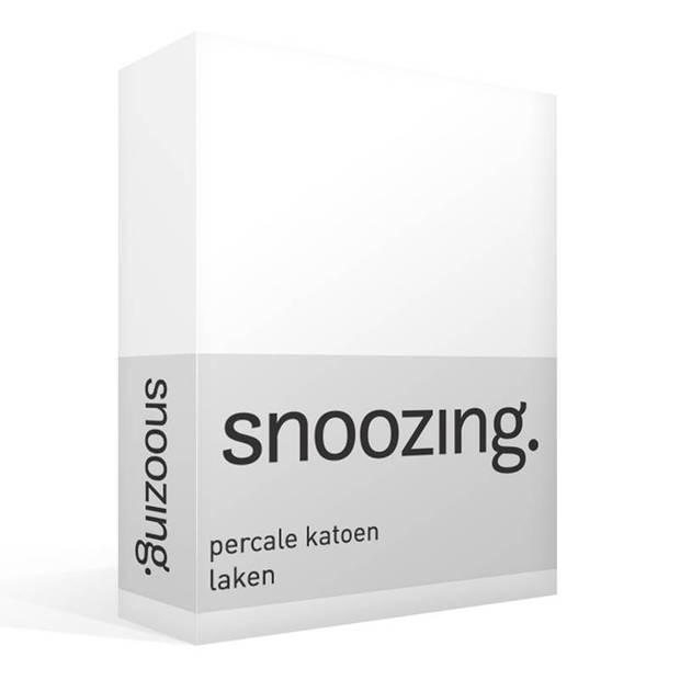 Snoozing - Laken - Lits-jumeaux - Percale katoen - 280x300 - Wit