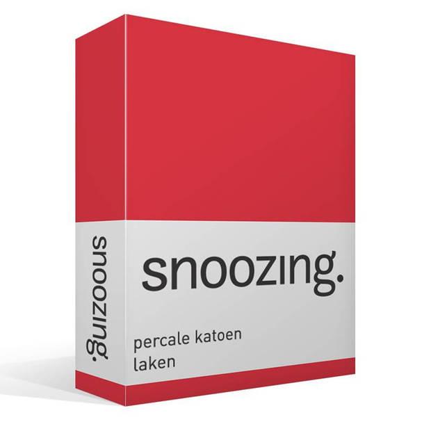 Snoozing - Laken - Lits-jumeaux - Percale katoen - 280x300 - Rood