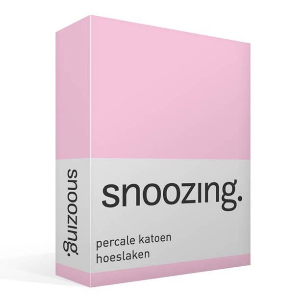Snoozing - Hoeslaken -80x220 - Percale katoen - Roze