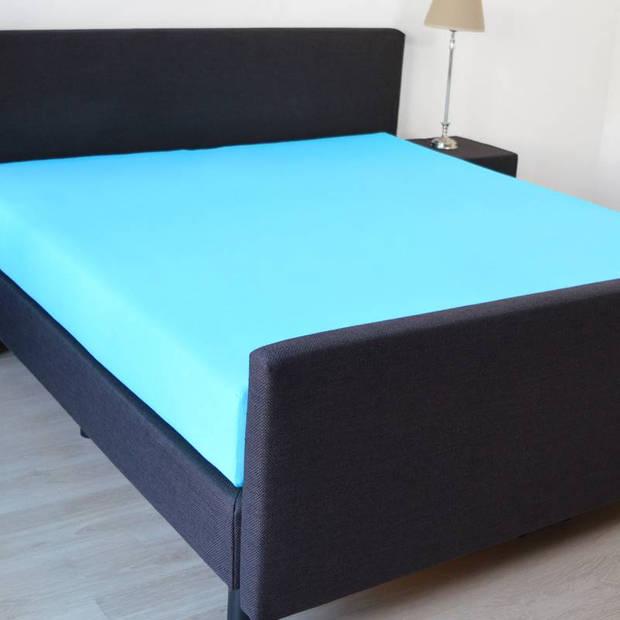 Snoozing - Hoeslaken - Percale katoen - Extra Hoog - 140x220 - Turquoise