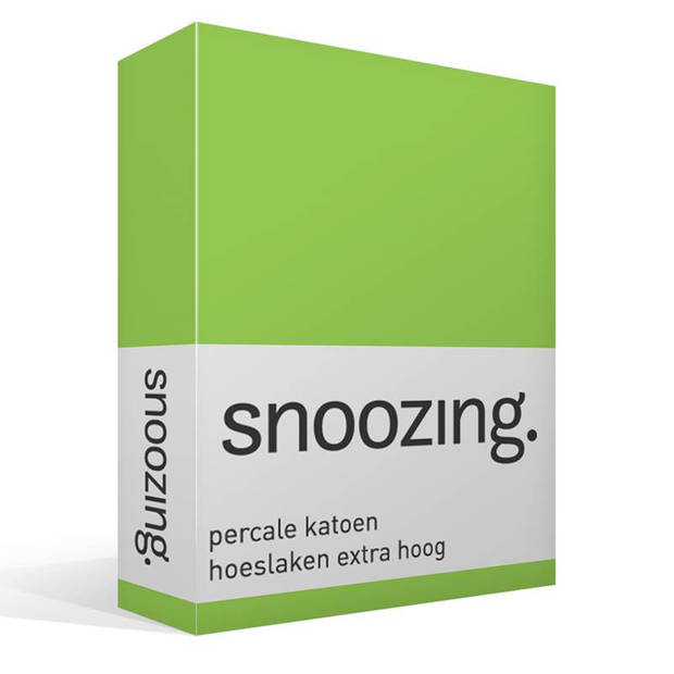 Snoozing - Hoeslaken - Percale katoen - Extra Hoog - 70x200 - Lime
