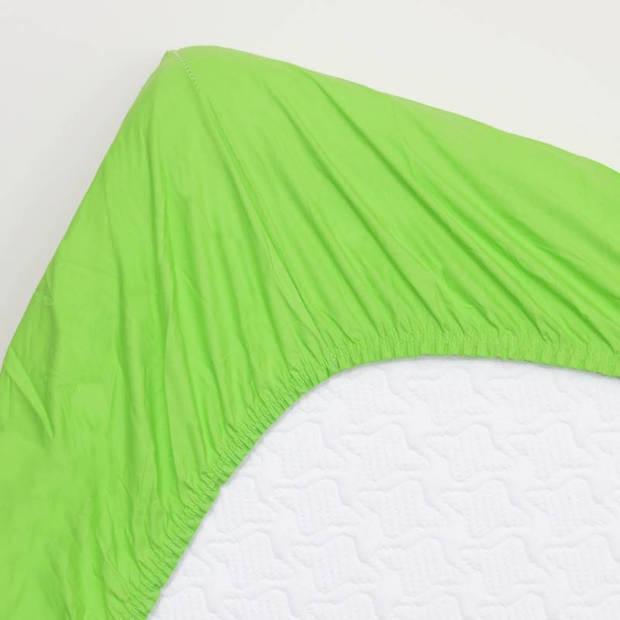 Snoozing - Hoeslaken - Percale katoen - Extra Hoog - 90x200 - Lime