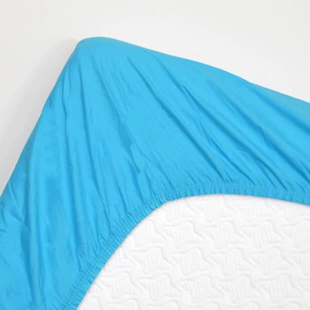 Snoozing - Hoeslaken - Percale katoen - Extra Hoog - 90x210 - Turquoise