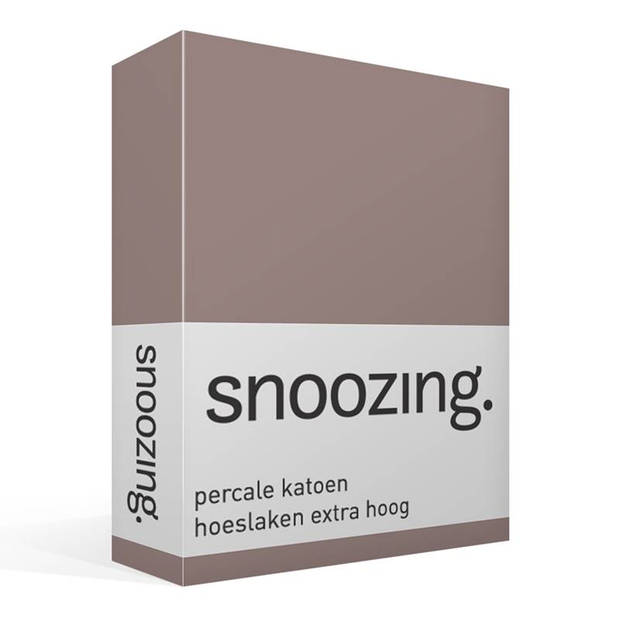 Snoozing - Hoeslaken - Percale katoen - Extra Hoog - 90x200 - Taupe