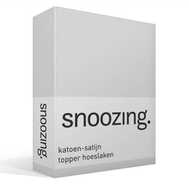 Snoozing - Katoen-satijn - Topper - Hoeslaken - 90x220 - Grijs