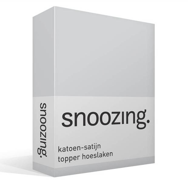 Snoozing - Katoen-satijn - Topper - Hoeslaken - 140x200 - Grijs