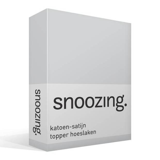 Snoozing - Katoen-satijn - Topper - Hoeslaken - 80x220 - Grijs