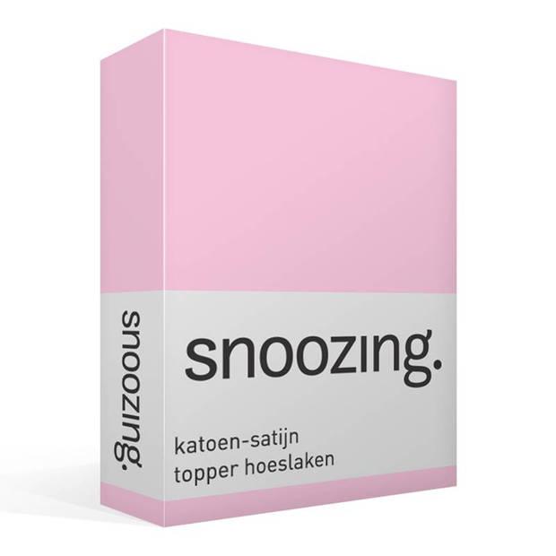 Snoozing - Katoen-satijn - Topper - Hoeslaken - 100x220 - Roze