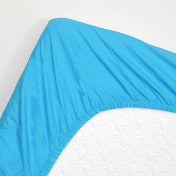 Snoozing - Katoen-satijn - Hoeslaken - 90x210 - Turquoise