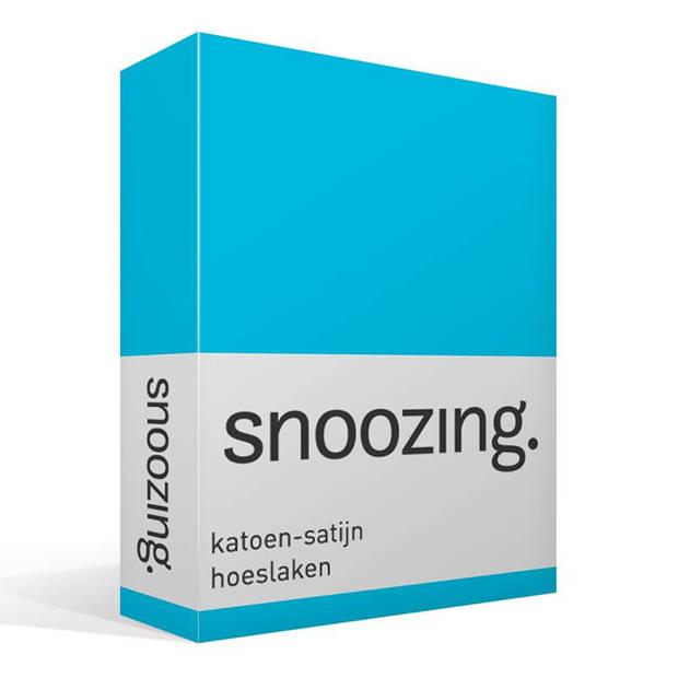 Snoozing - Katoen-satijn - Hoeslaken - 200x200 - Turquoise