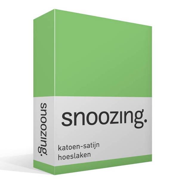 Snoozing - Katoen-satijn - Hoeslaken - 90x220 - Lime