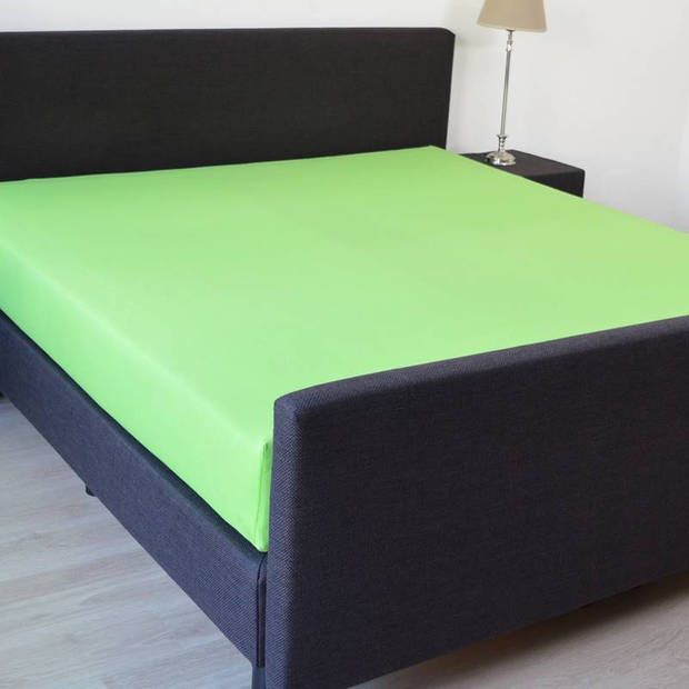 Snoozing - Katoen-satijn - Hoeslaken - 140x220 - Lime