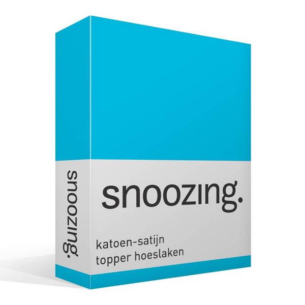 Snoozing - Katoen-satijn - Topper - Hoeslaken - 140x220 - Turquoise