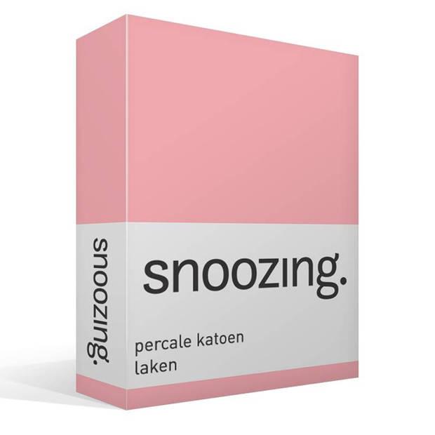 Snoozing - Laken - Eenpersoons - Percale katoen - 150x260 - Roze