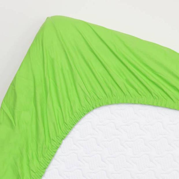 Snoozing - Katoen-satijn - Topper - Hoeslaken - 80x220 - Lime