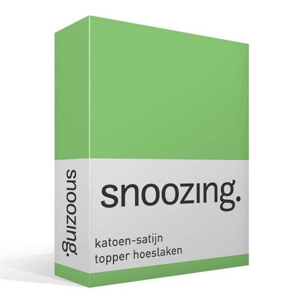 Snoozing - Katoen-satijn - Topper - Hoeslaken - 150x200 - Lime