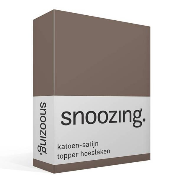 Snoozing - Katoen-satijn - Topper - Hoeslaken - 90x220 - Bruin