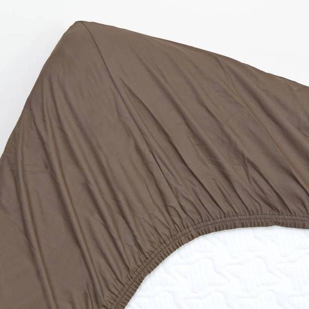 Snoozing - Katoen-satijn - Topper - Hoeslaken - 120x220 - Bruin