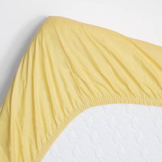 Snoozing - Katoen-satijn - Topper - Hoeslaken - 90x220 - Geel
