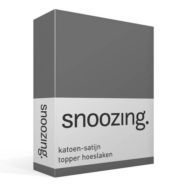 Snoozing - Katoen-satijn - Topper - Hoeslaken - 90x220 - Antraciet
