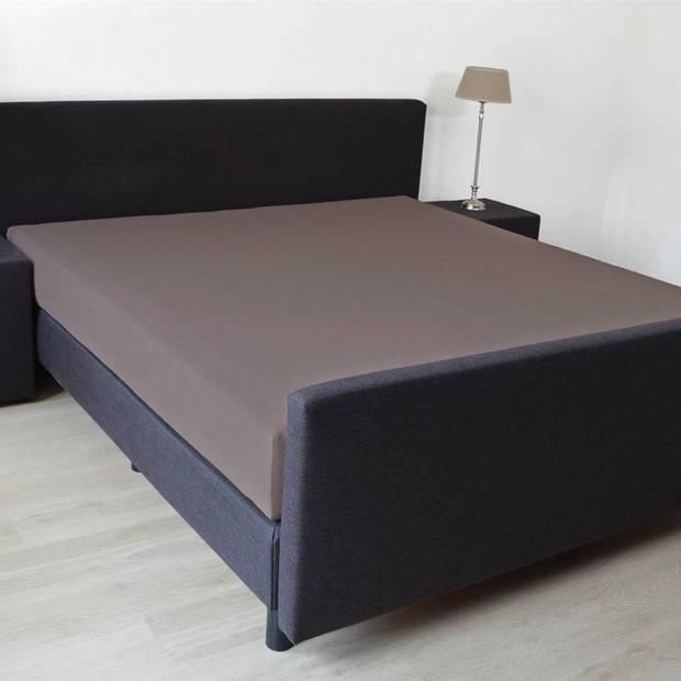 Snoozing - Katoen-satijn - Hoeslaken - 150x200 - Bruin