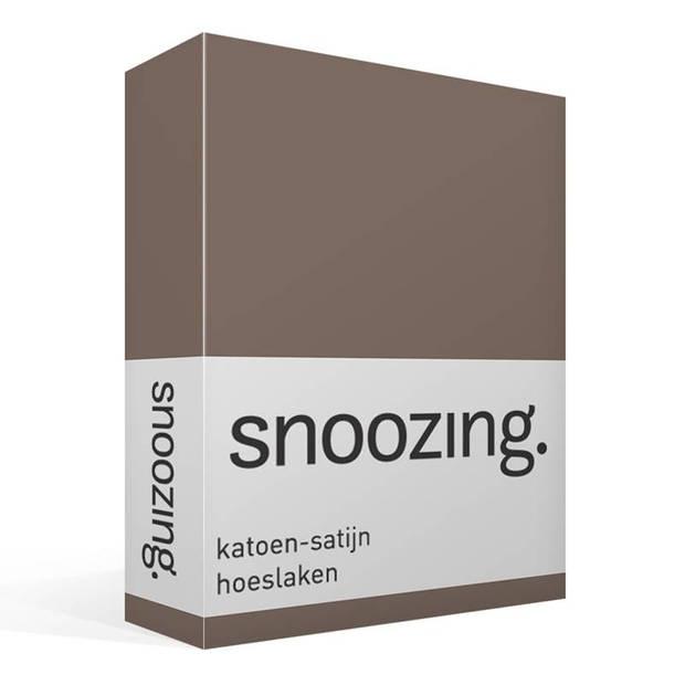 Snoozing - Katoen-satijn - Hoeslaken - 140x200 - Bruin