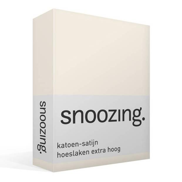 Snoozing - Katoen-satijn - Hoeslaken - Extra Hoog - 90x220 - Ivoor