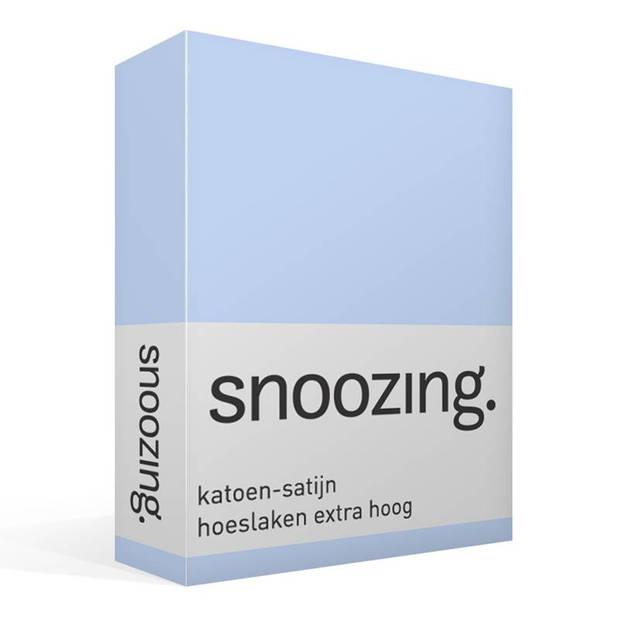 Snoozing - Katoen-satijn - Hoeslaken - Extra Hoog - 90x220 - Hemel