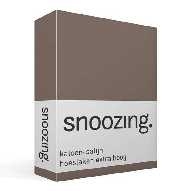 Snoozing - Katoen-satijn - Hoeslaken - Extra Hoog - 90x210 - Bruin