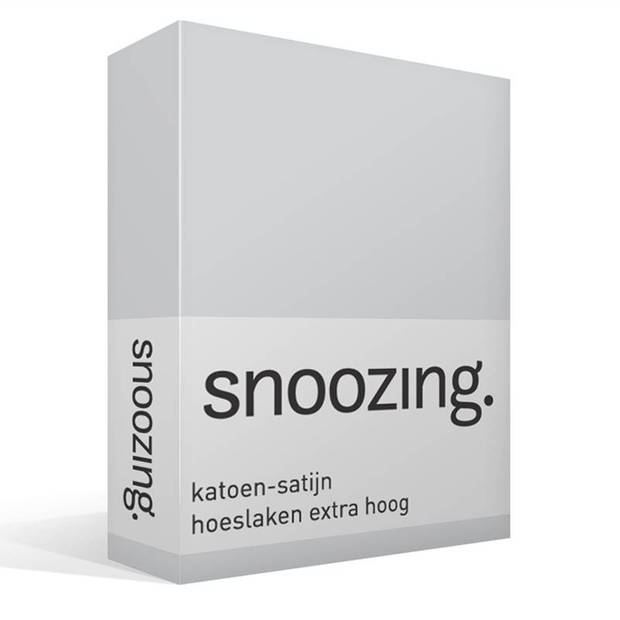 Snoozing - Katoen-satijn - Hoeslaken - Extra Hoog - 90x210 - Grijs