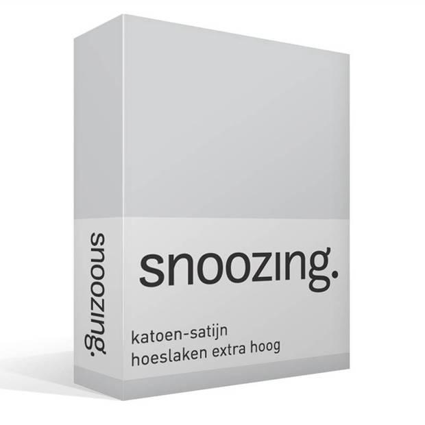 Snoozing - Katoen-satijn - Hoeslaken - Extra Hoog - 90x220 - Grijs
