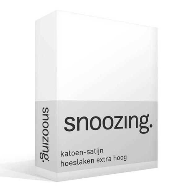 Snoozing - Katoen-satijn - Hoeslaken - Extra Hoog - 90x220 - Wit
