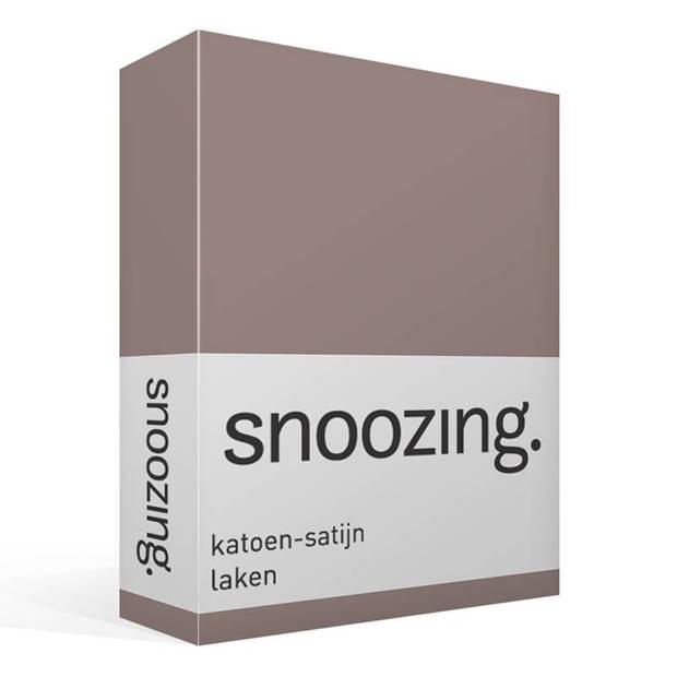 Snoozing - Katoen-satijn - Laken - Eenpersoons - 200x260 - Bruin