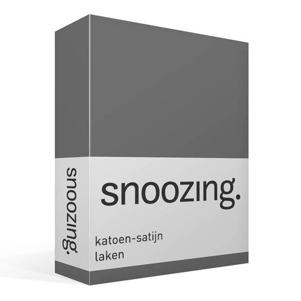 Snoozing - Katoen-satijn - Laken - Eenpersoons - 280x300 - Antraciet