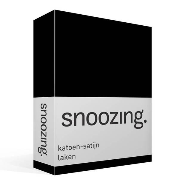 Snoozing - Katoen-satijn - Laken - Eenpersoons - 150x260 - Zwart