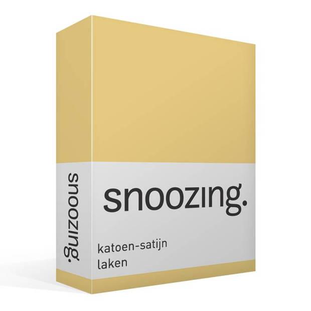 Snoozing - Katoen-satijn - Laken - Eenpersoons - 280x300 - Geel
